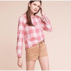Anthropologie Cloth & Stone Plaid Button Back Top